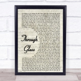Stone Sour Through Glass Song Lyric Vintage Script Quote Print