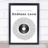 Lionel Richie & Diana Ross Endless Love Vinyl Record Song Lyric Quote Print