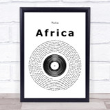 Toto Africa Vinyl Record Song Lyric Quote Print