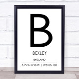 Bexley England Coordinates World City Travel Print