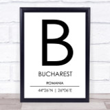 Bucharest Romania Coordinates World City Travel Print