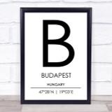 Budapest Hungary Coordinates World City Travel Print