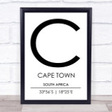 Cape Town South Africa Coordinates Travel Print