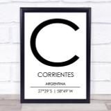 Corrientes Argentina Coordinates Travel Print