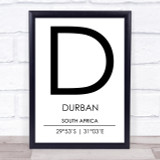 Durban South Africa Coordinates Travel Print