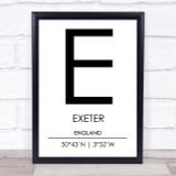 Exeter England Coordinates World City Travel Print