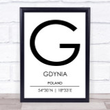Gdynia Poland Coordinates World City Travel Print