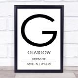 Glasgow Scotland Coordinates World City Travel Print