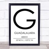 Guadalajara Mexico Coordinates Travel Print