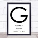 Gweru Zimbabwe Coordinates World City Travel Print