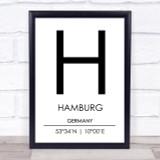 Hamburg Germany Coordinates World City Travel Print