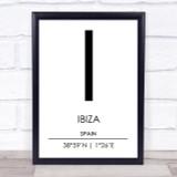Ibiza Spain Coordinates World City Travel Print