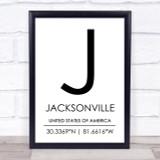 Jacksonville United States Of America Coordinates Quote Print