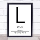 Lyon France Coordinates World City Travel Print
