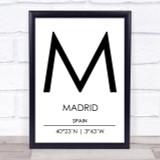 Madrid Spain Coordinates World City Travel Print
