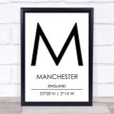 Manchester England Coordinates Travel Print