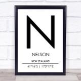Nelson New Zealand Coordinates Travel Print
