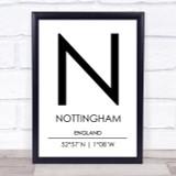 Nottingham England Coordinates Travel Print