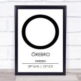 Orebro Sweden Coordinates World City Travel Print