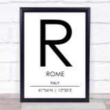 Rome Italy Coordinates World City Travel Print