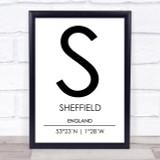 Sheffield England Coordinates World City Travel Print