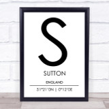 Sutton England Coordinates World City Travel Print