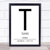 Tunis Tunisia Coordinates World City Travel Print