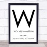 Wolverhampton England Coordinates Travel Print
