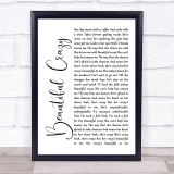 Luke Combs Beautiful Crazy White Script Music Gift Poster Print