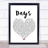 The Kinks Days White Heart Music Gift Poster Print