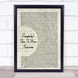 Baz Luhrmann Everybody's Free To Wear Sunscreen Vintage Script Music Gift Poster Print