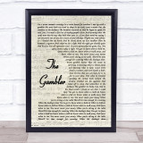 Kenny Rogers The Gambler Vintage Script Music Gift Poster Print
