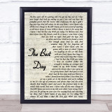 Taylor Swift The Best Day Vintage Script Music Gift Poster Print