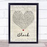 Pearl Jam Black Script Heart Music Gift Poster Print