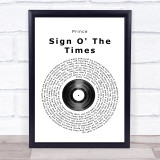 Prince Sign O' The Times Vinyl Record Music Gift Poster Print