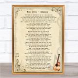 Bon Jovi Always Vintage Guitar Music Gift Poster Print