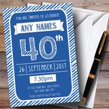 Blue & White Stripy Deco 40th Customised Birthday Party Invitations