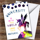 Unicorn University Magical World Customised Good Luck Card