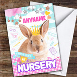 Cute Bunny First Day At Nursery Customised Good Luck Card