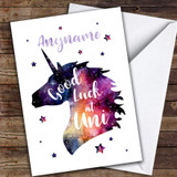 Unicorn Head Good Luck Uni Customised Good Luck Card