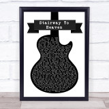 Led Zeppelin Stairway To Heaven Black & White Guitar Song Lyric Music Gift Poster Print