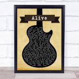 Pearl Jam Alive Black Guitar Song Lyric Music Gift Poster Print
