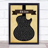 Take That Shine Black Guitar Song Lyric Music Gift Poster Print