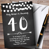 Chalk Style Lights 40th Customised Birthday Party Invitations