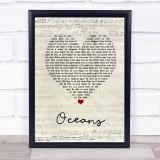 Coasts Oceans Script Heart Song Lyric Music Gift Poster Print