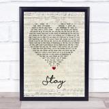 Rihanna ft. Mikky Ekko Stay Script Heart Song Lyric Music Gift Poster Print