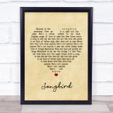 Oasis Songbird Vintage Heart Song Lyric Music Gift Poster Print