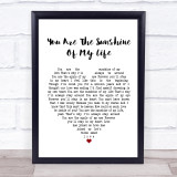Stevie Wonder You Are The Sunshine Of My Life White Heart Song Lyric Music Gift Poster Print