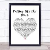 James Arthur Falling like the Stars White Heart Song Lyric Music Gift Poster Print