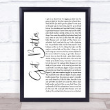Frank Turner Get Better White Script Song Lyric Music Gift Poster Print